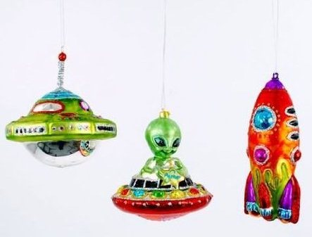 Flying Saucer Alien & rocket Ship Ornaments